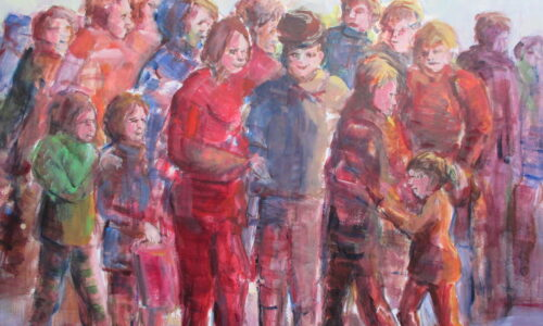 M.Rijnders. groep mensen 60x80, acryl op papier